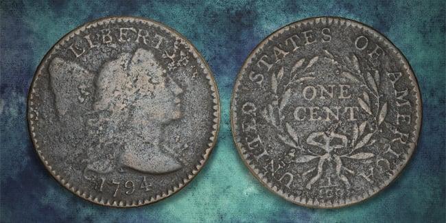 1794 cent blue art background