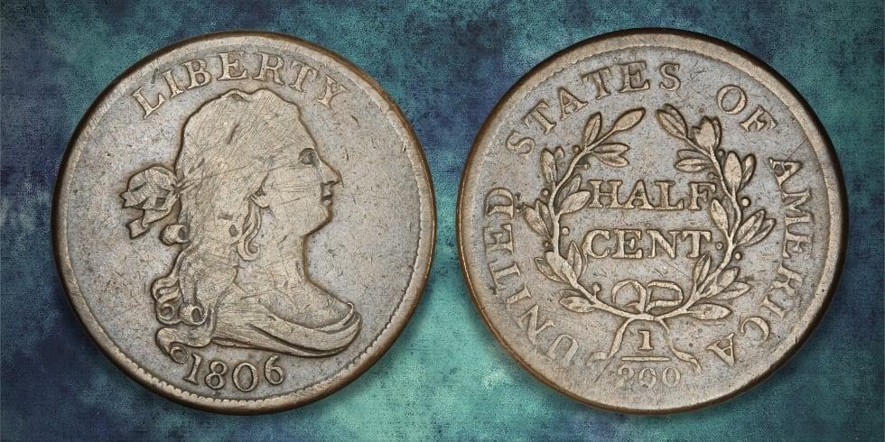 1806 half cent blue art background