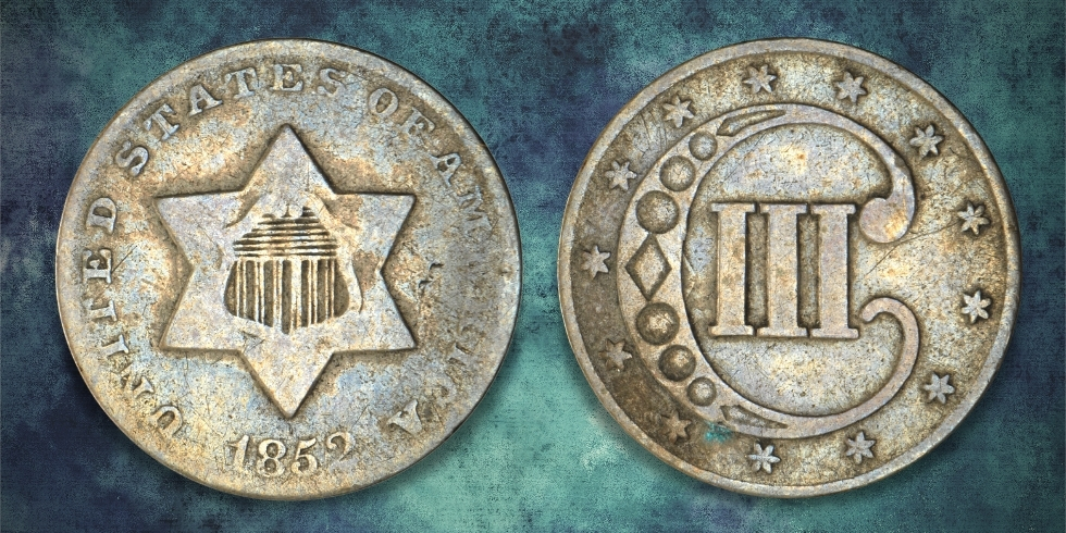 1852 3 cent blue art background