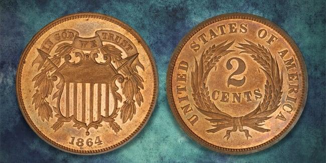 1864 2 cent blue art background