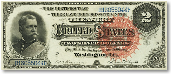 1886 two dollar silver certificate front