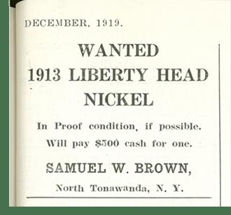 1913 liberty nickel wanted ad