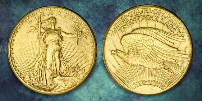 1914 20 gold dollar blue art background