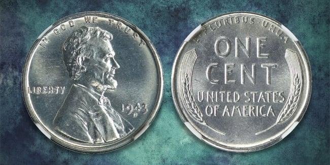 1943 steel cent blue art background