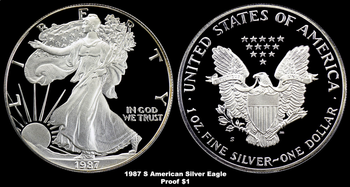 1987 s american silver eagle proof 1 dollar