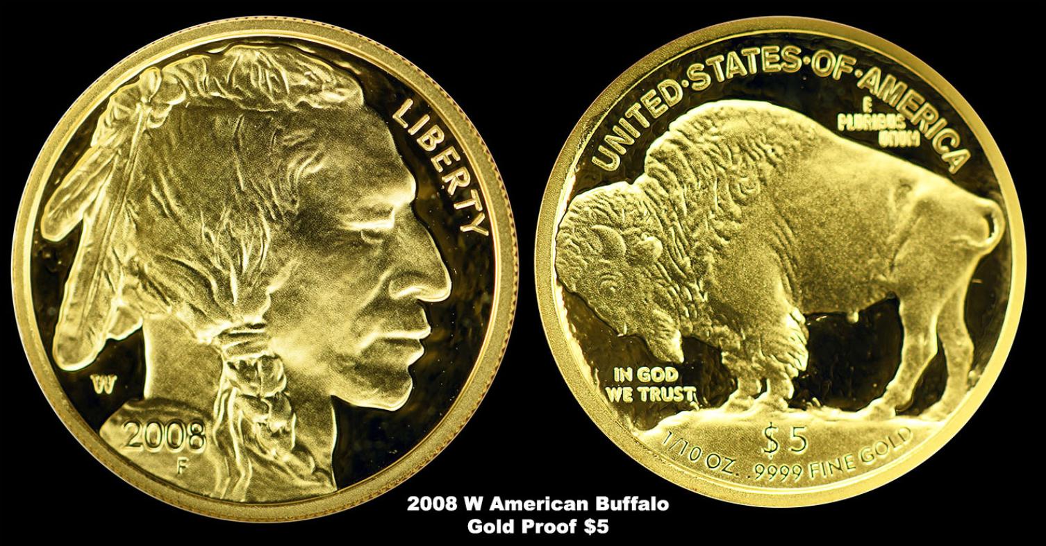 2008 w american buffalo gold proof 5 follars