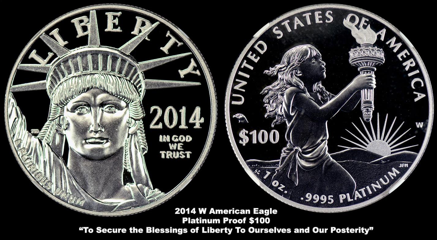 2014 w american eagle platinum proof 100 dollars