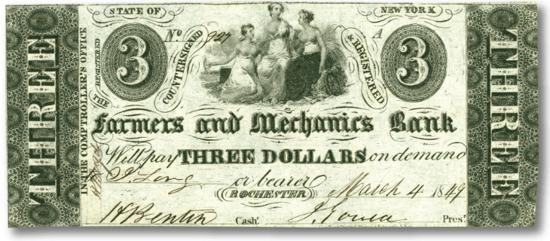 three dollar bank note